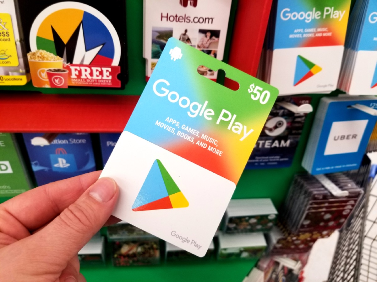 google play gift card and other gift cards at walmart