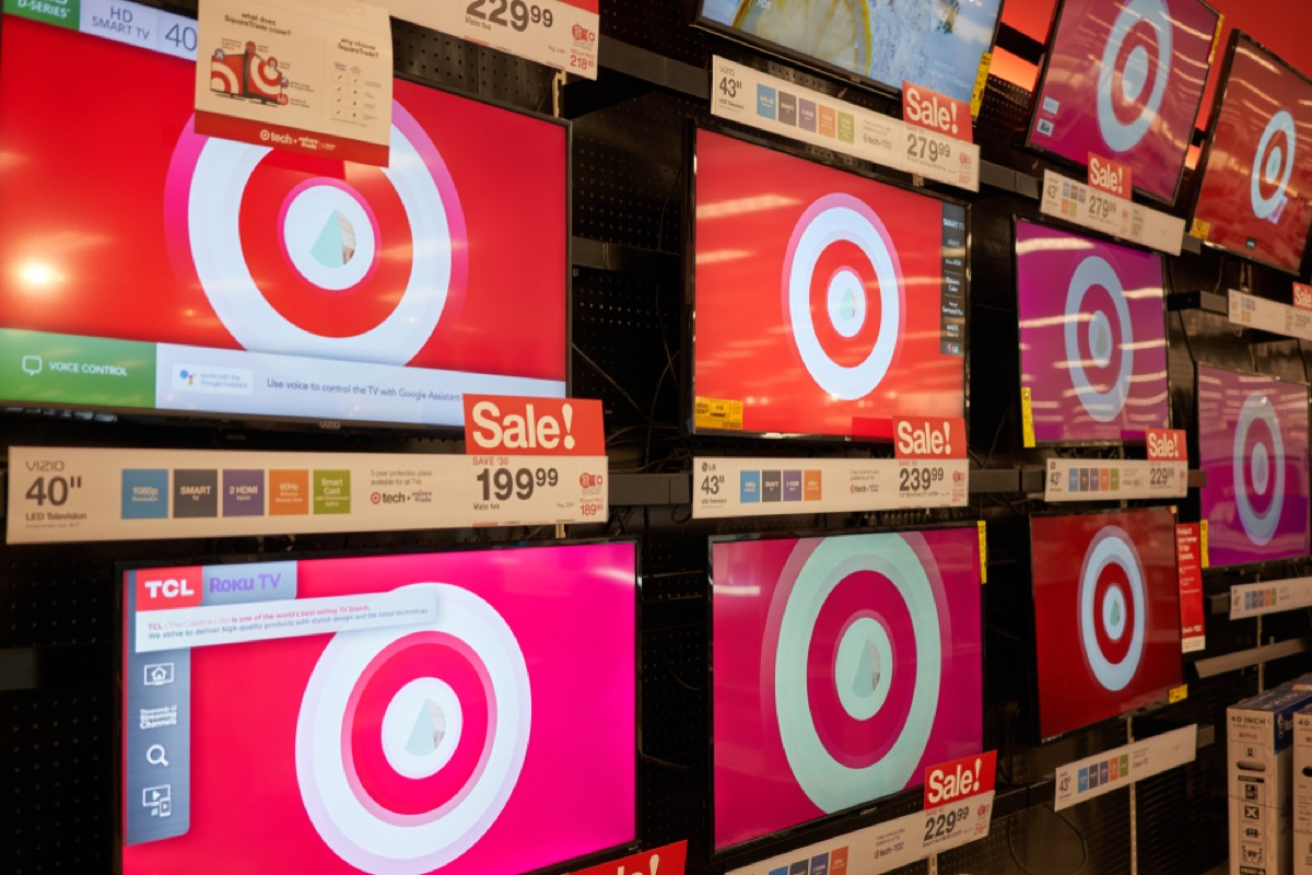 tv sets on display at target