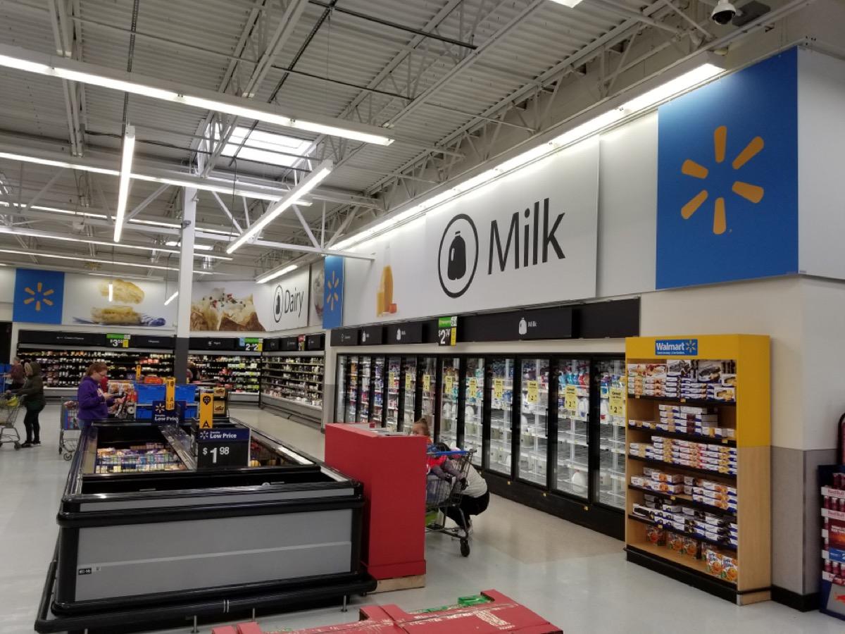 milk and dairy aisle at walmart