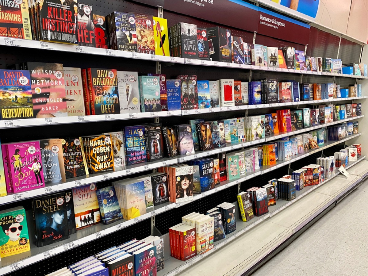 aisle of books at target