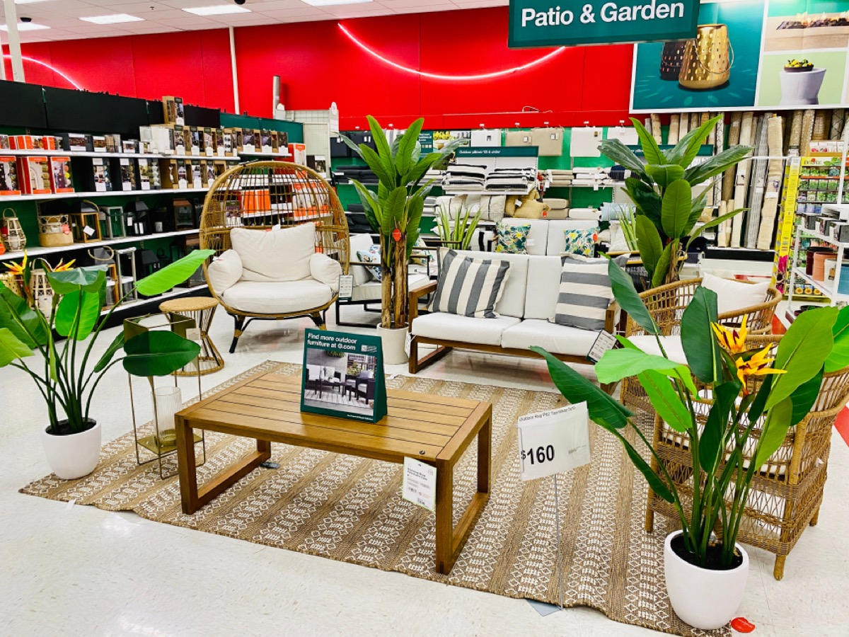 patio furniture on display at target