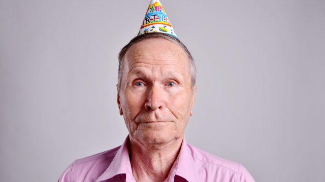 Older man on his birthday