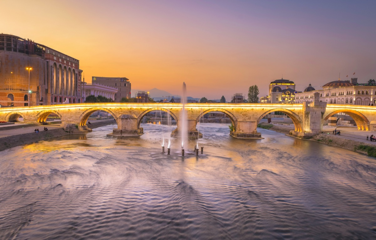 bridge in skopje capital city of north macedonia