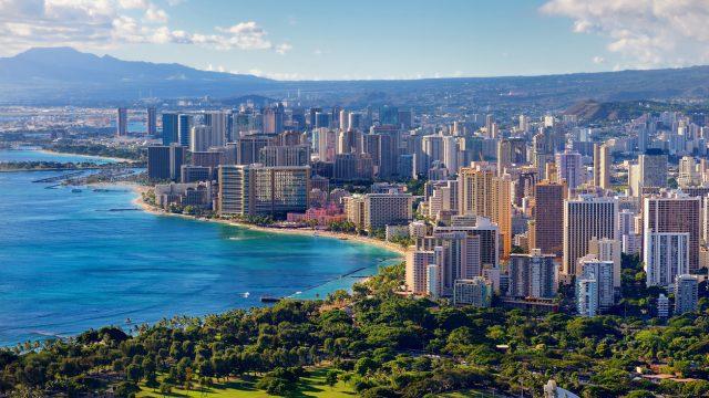 The skyline of Honolulu, Oahu, Hawaii on a sunny day