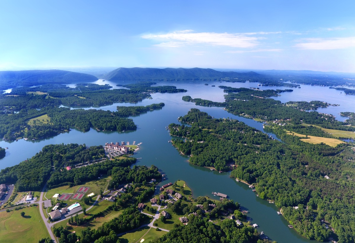 aerial view of smith mountain lake in virginia