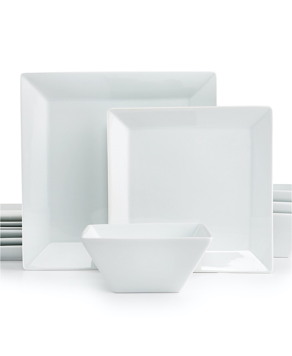 set of white square plates and bowls