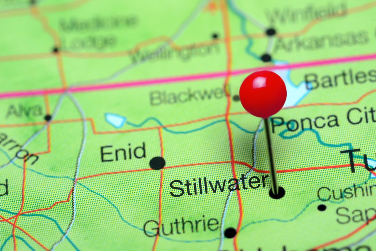 Stillwater pinned on a map of Oklahoma, USA