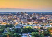 The skyline of downtown Birmingham, Alabama at sunset.