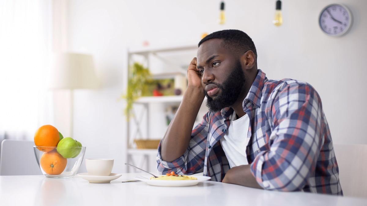 Man not eating upset because he lost his sense of taste