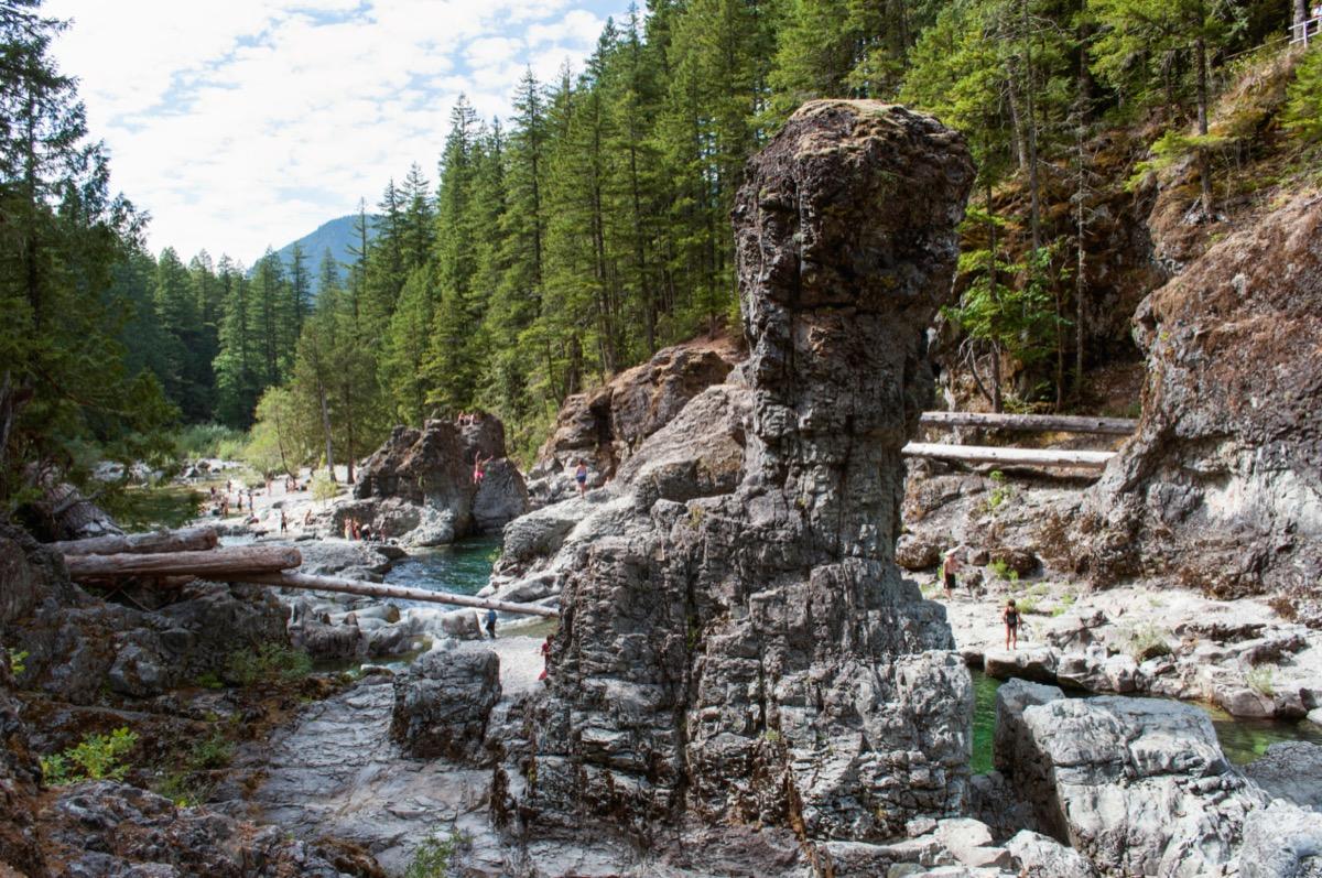 The Opal Creek Wilderness Three Pools swimming hole area in Oregon