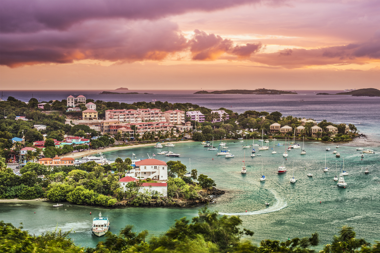 An aerial photo of boats in Cruz Bay, St. John in the U.S. Virgin Islands at sunset.