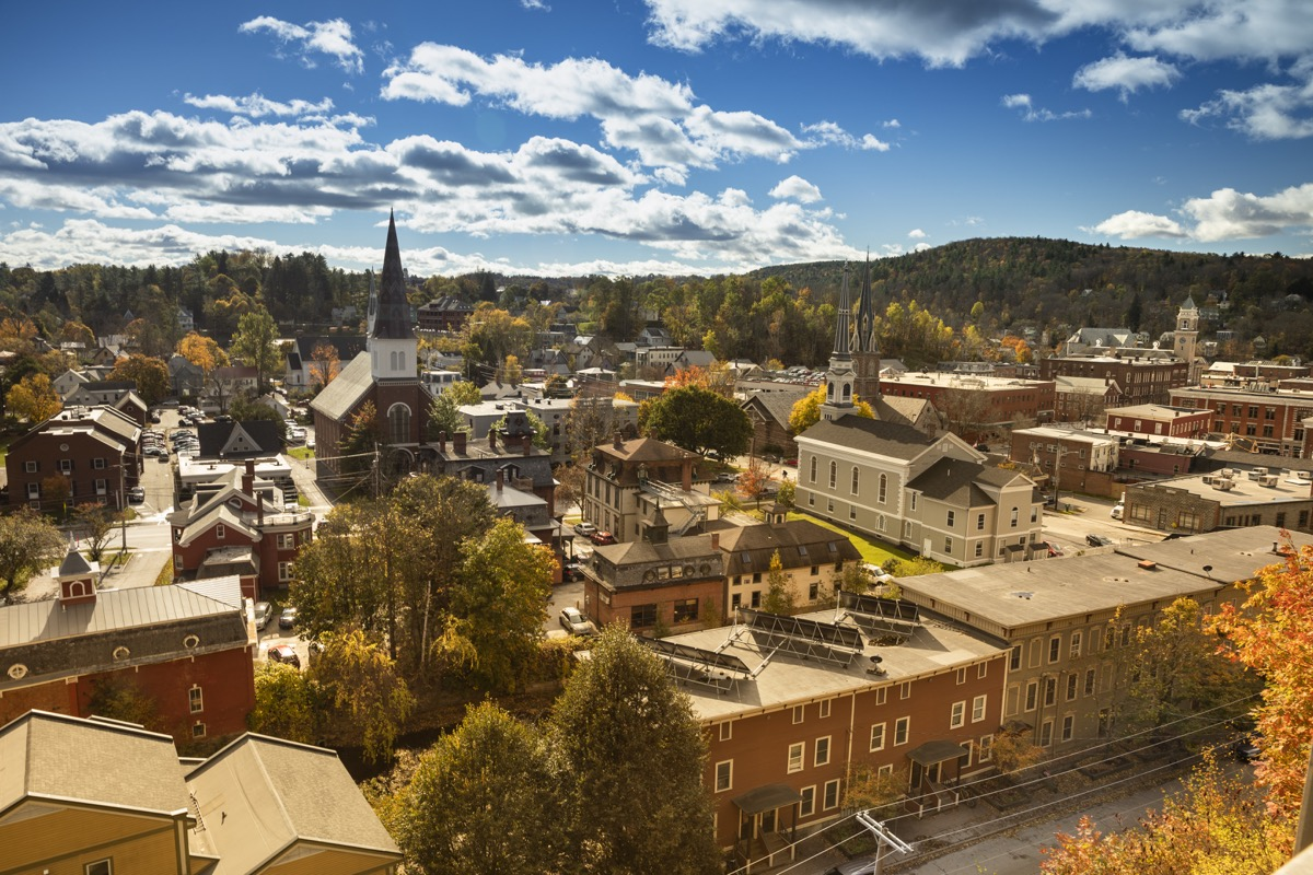 Downtown skyline view of Montpelier, USA. Montpelier is the capital city of Vermont.