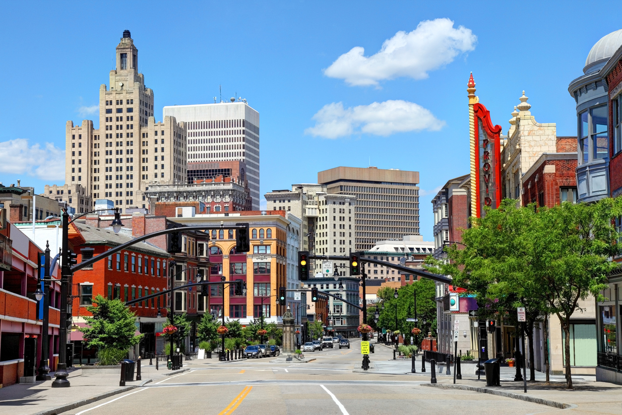 A view of downtown Providence, Rhode Island on a sunny day.