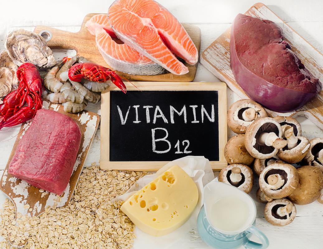 Natural sources of Vitamin B12 (Cobalamin)- Top view