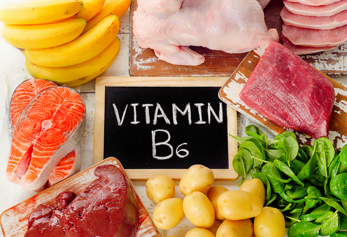 Foods with Vitamin B6 (Pyridoxine)- Top view