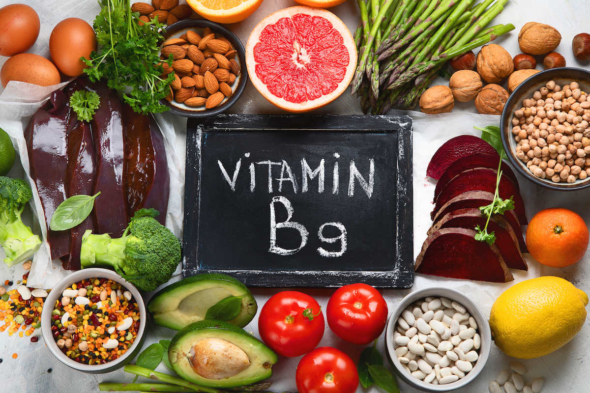 Foods high in vitamin B9, sources of folic acid- Top view