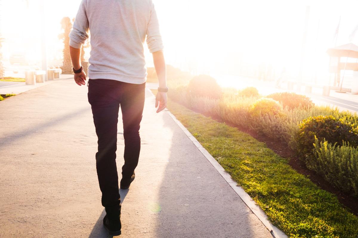 Man walking outside in fresh clean air