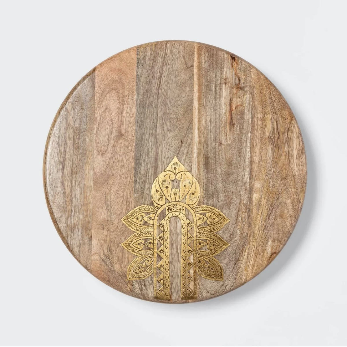 wooden lazy susan with gold details