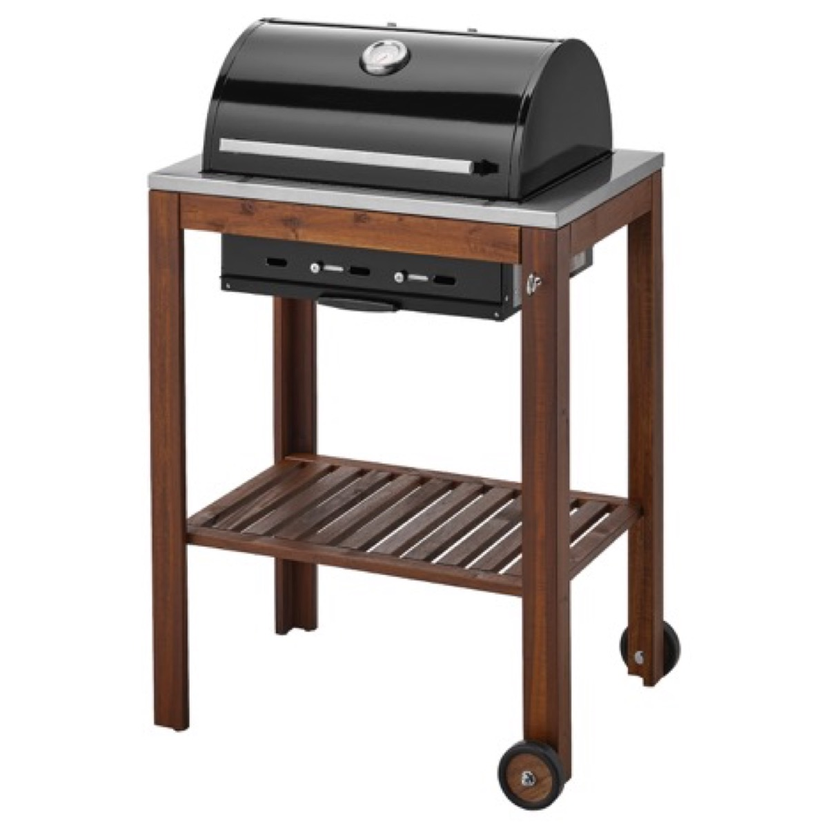 Ikea grill with wooden surround