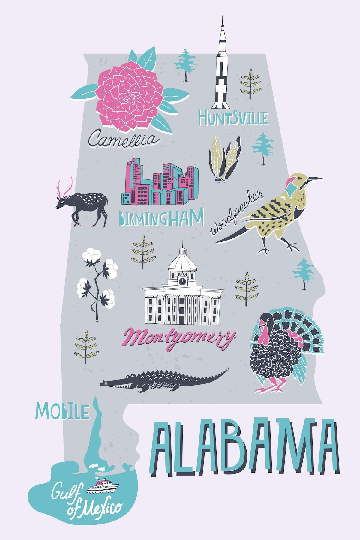 Alabama state illustration