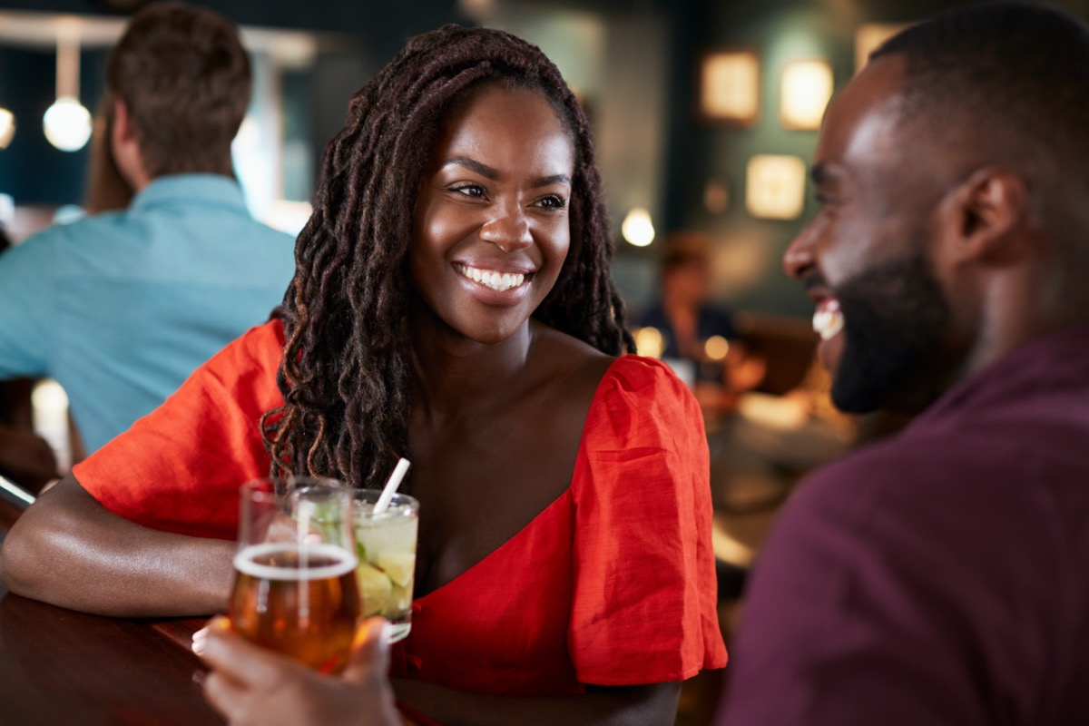 Black man and woman on date