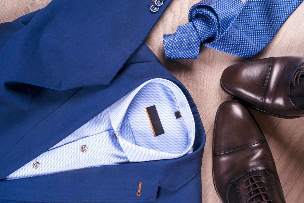 Blue suit and brown shoes