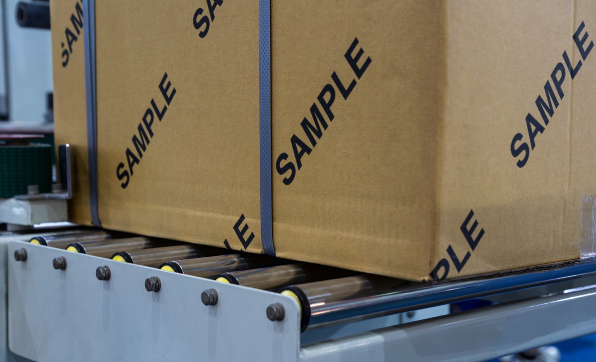 Box of samples in factory