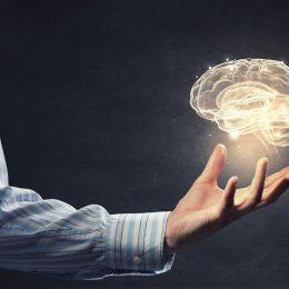 Digital brain hovering over hand