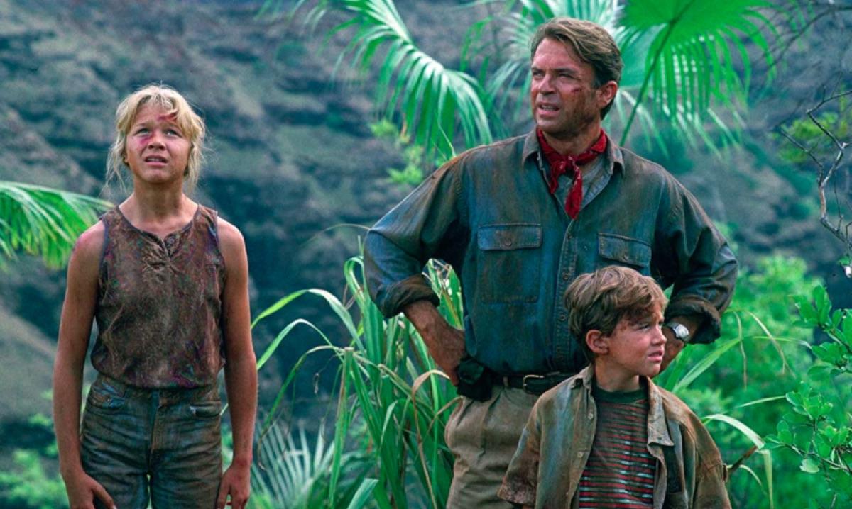 Ariana Richards, Sam Neill, and Joseph Mazzello in Jurassic Park