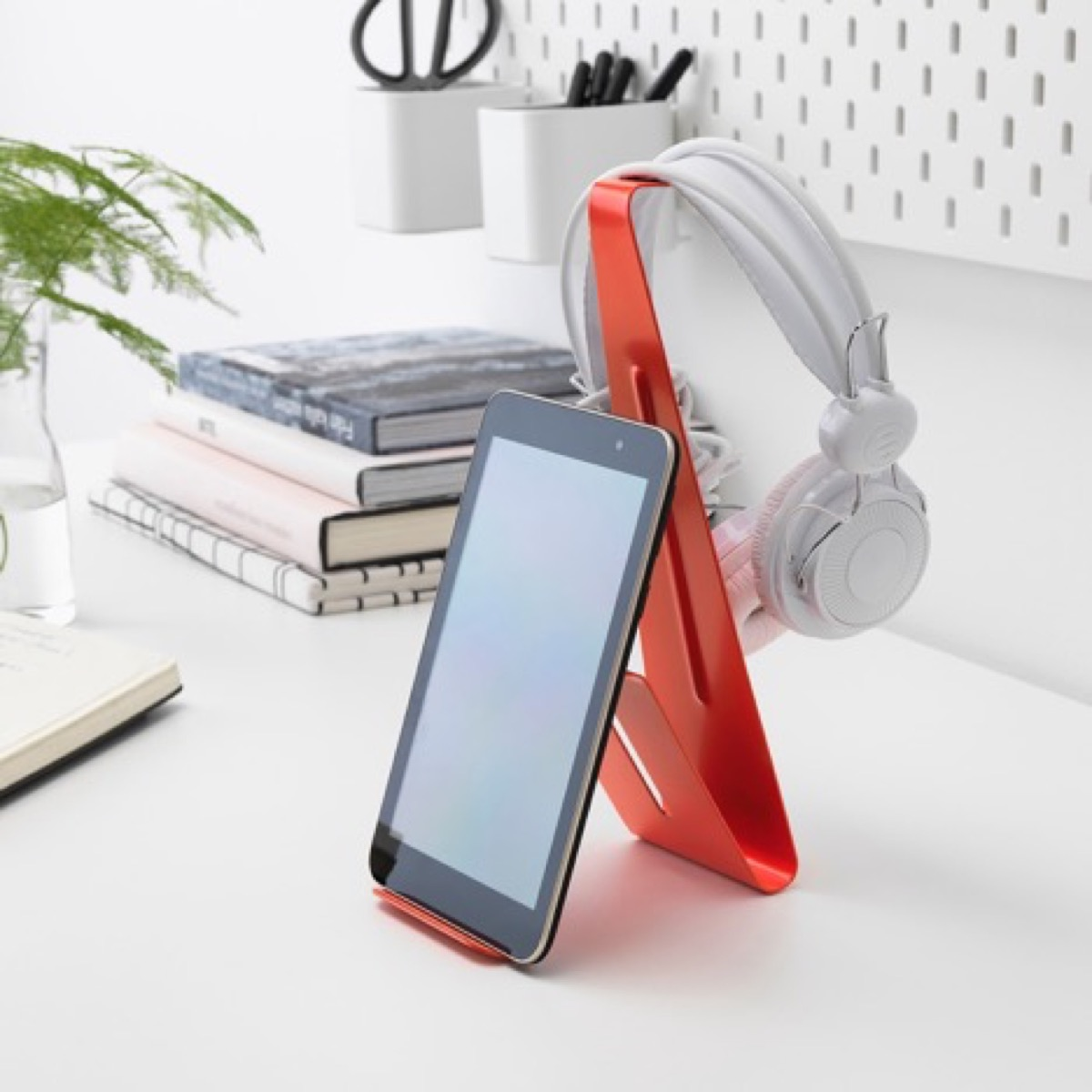 Red tablet stand