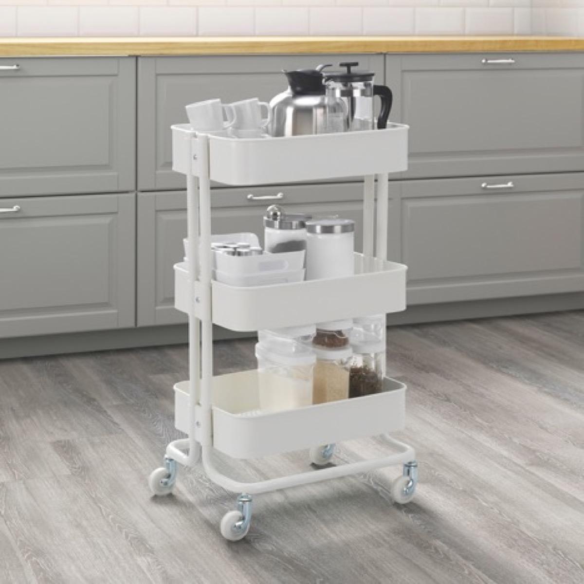 Ikea utility organizer in kitchen