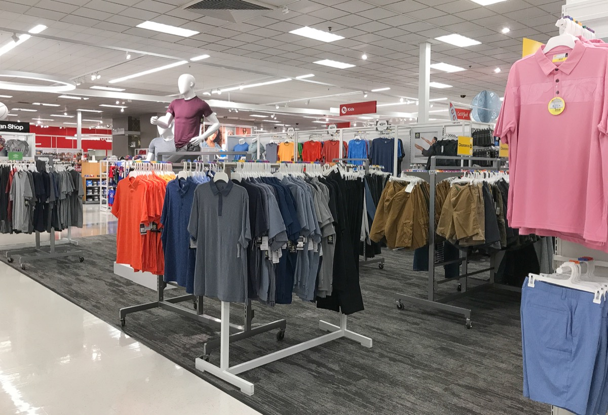 Target men's clothing aisle
