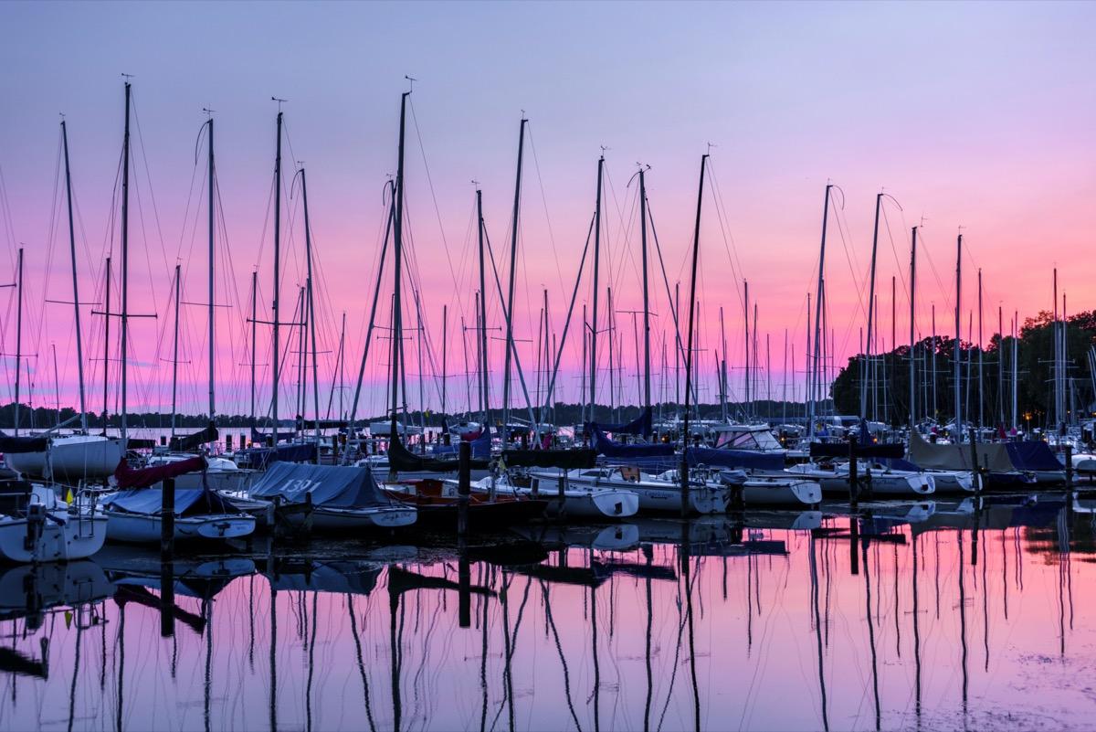 Sunset over Wayzata Yacht Club on Wayzata Bay, Lake Minnetonka.