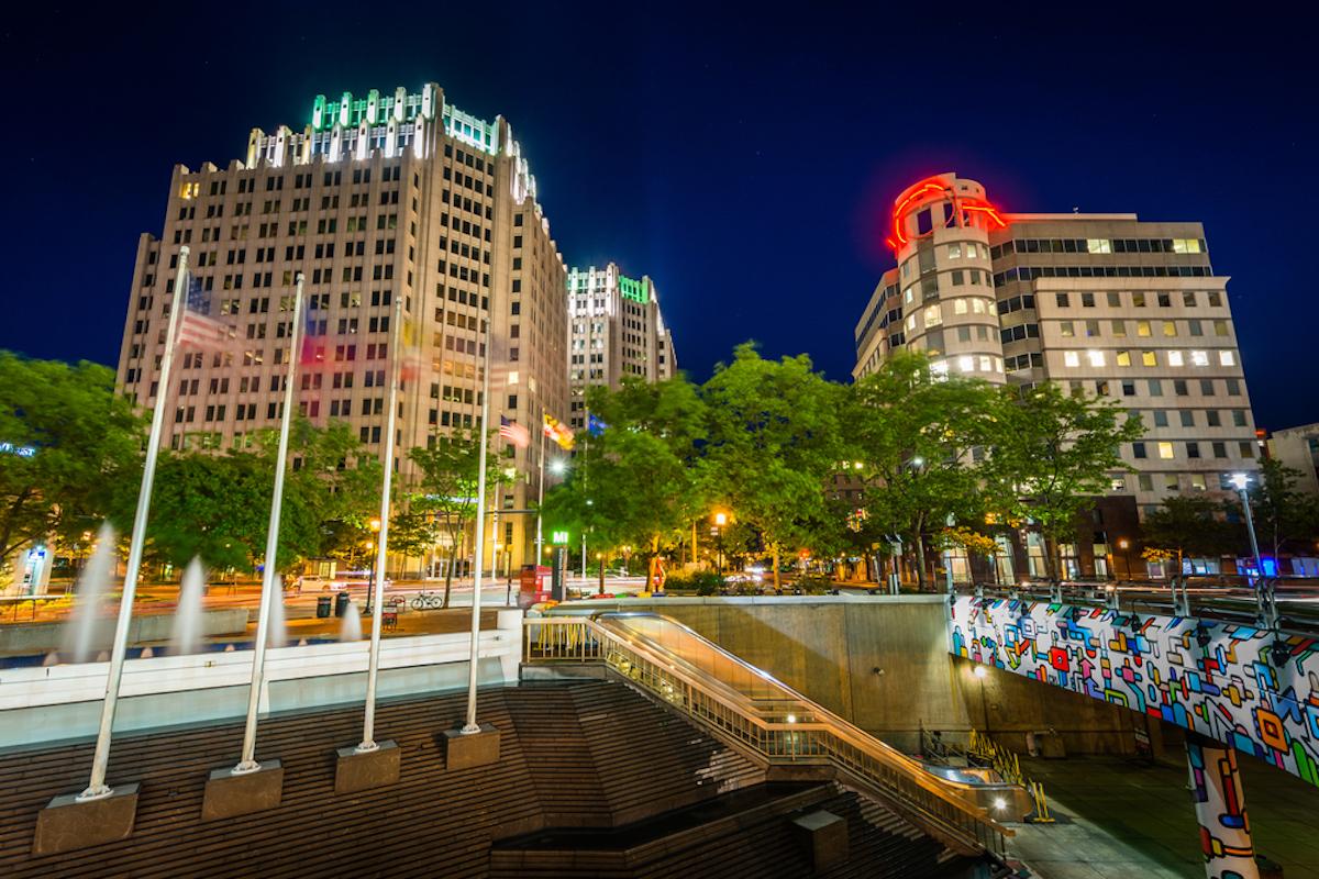 image of downtown bethesda, maryland at night