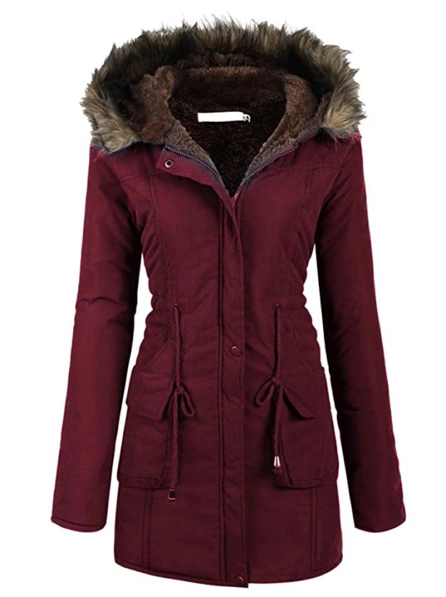 burgundy jacket with faux fur hood
