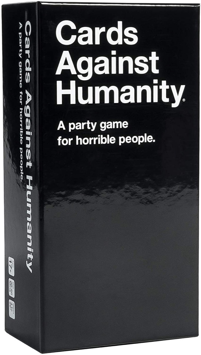 black box with cards against humanity game