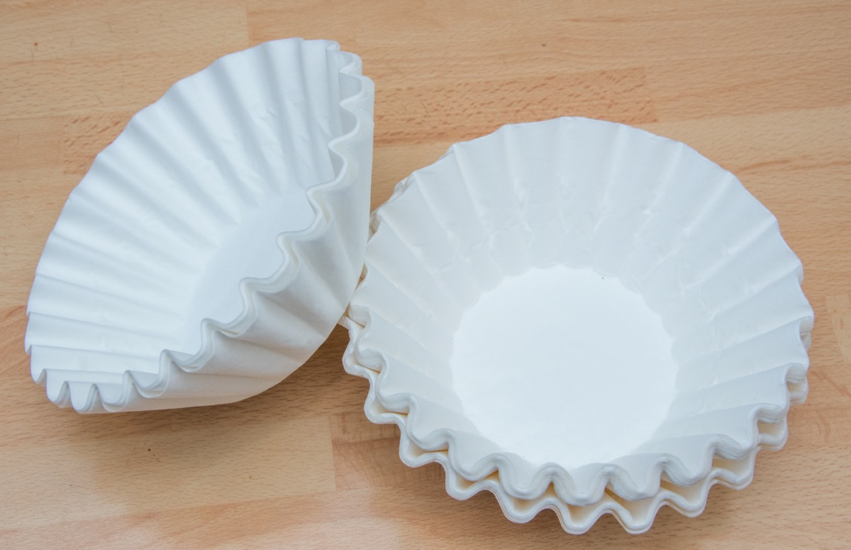 stack of white coffee filters