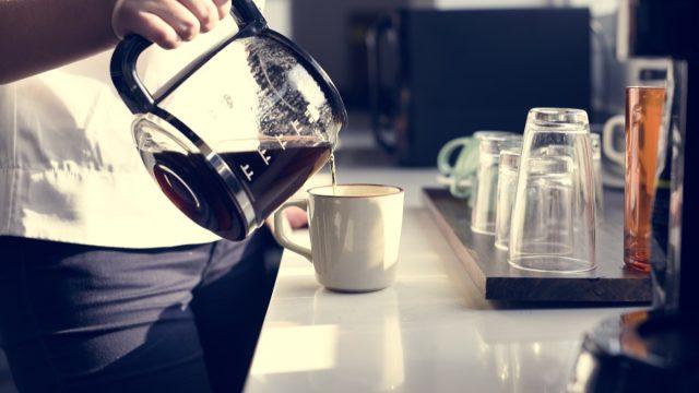 Man making coffee at home