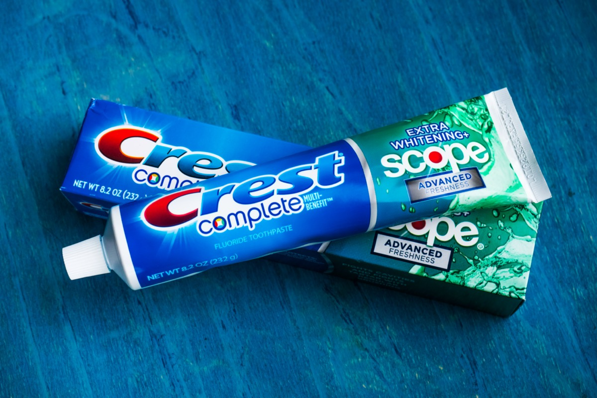 tube of crest toothpaste and box