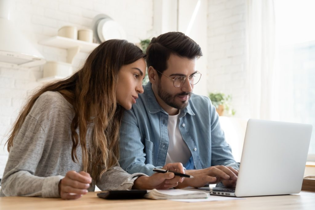 Couple having a discussion about finances together