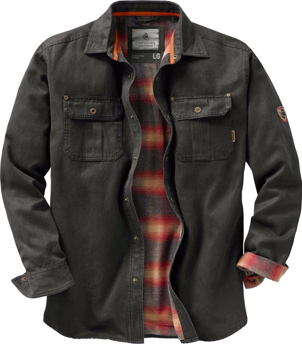 Flannel lined jacket shirt