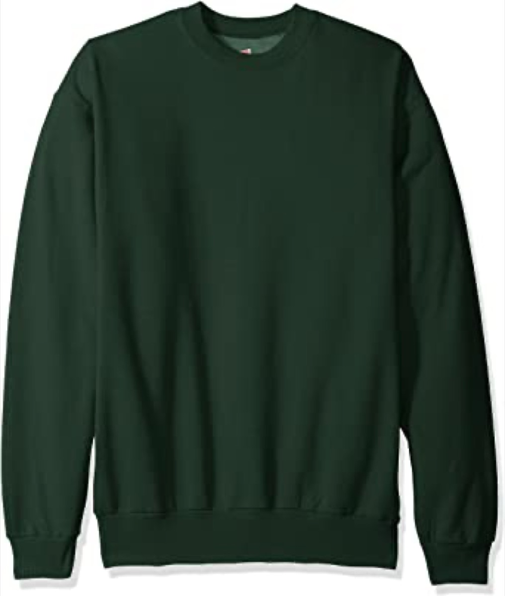 A green fleece crewneck sweatshirt