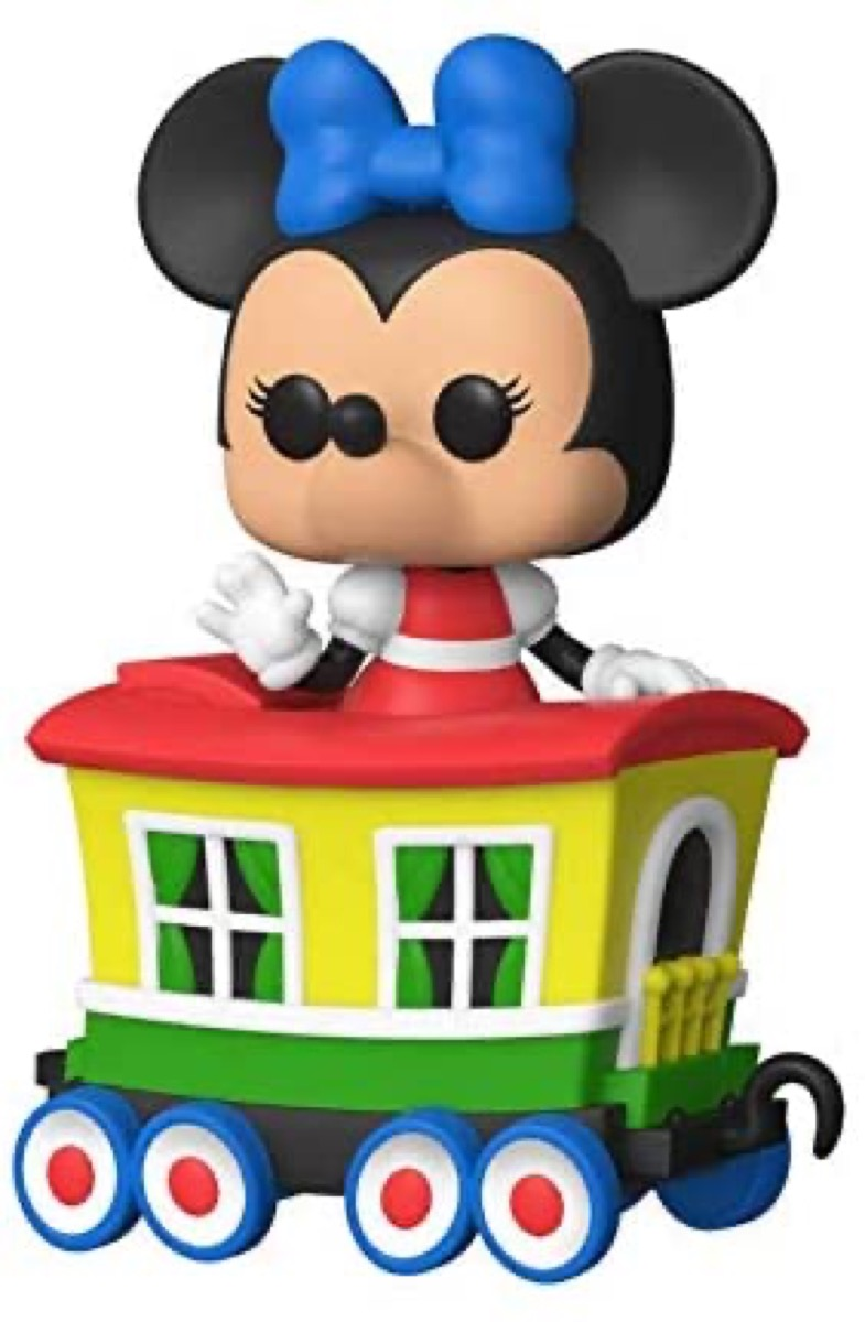 funko pop minnie mouse figure on train