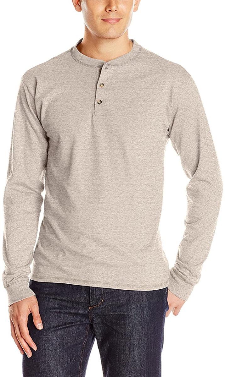 A grey henley shirt