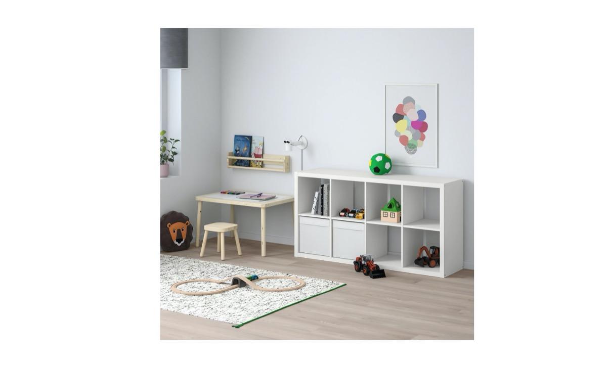 ikea kallax organizer in white room