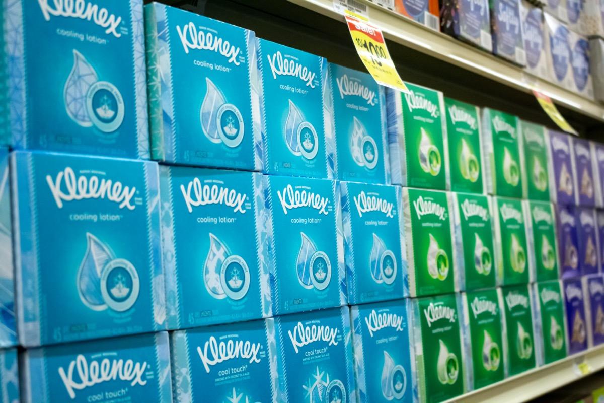 display of kleenex boxes