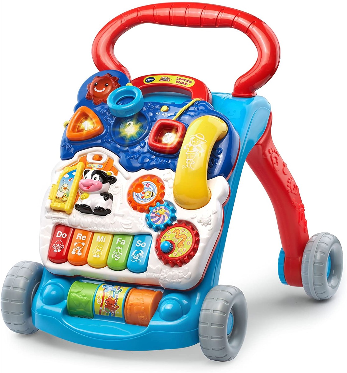 blue and red vtech walker with toys