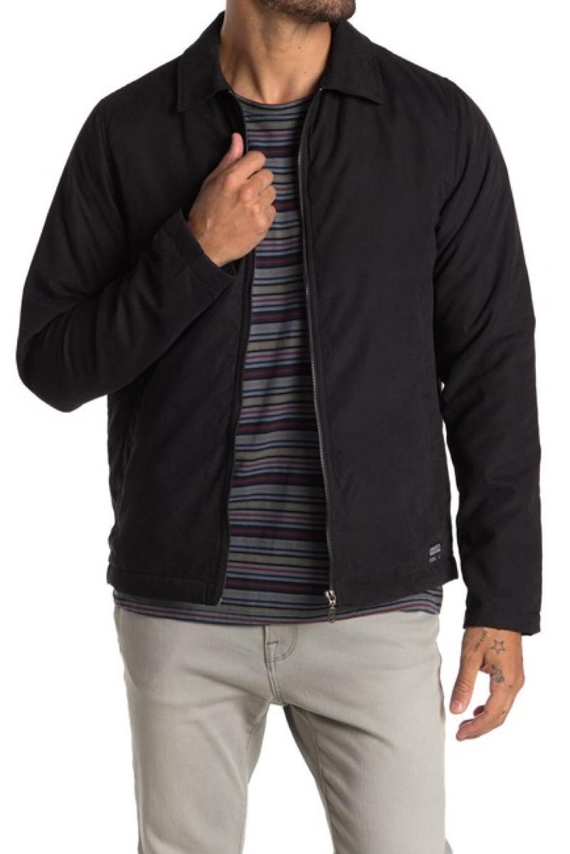 A black lightweight zip up jacket