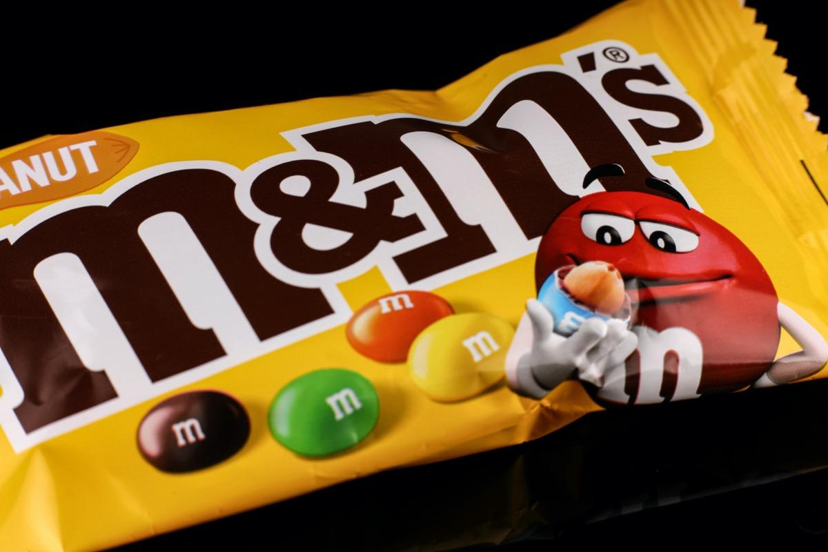 bag of peanut m&m candy