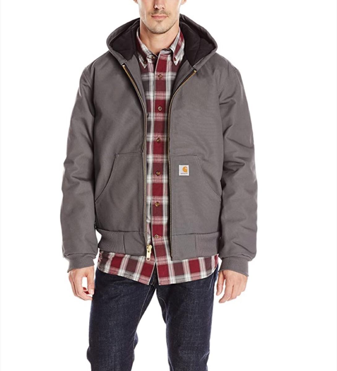 white man in gray carhartt jacket
